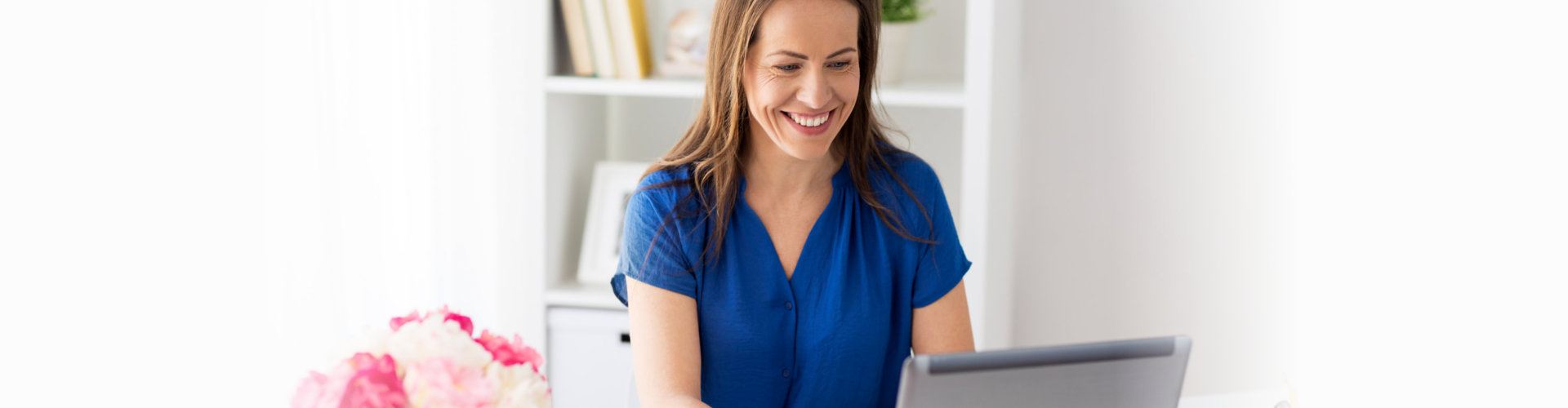 happy smiling woman with laptop